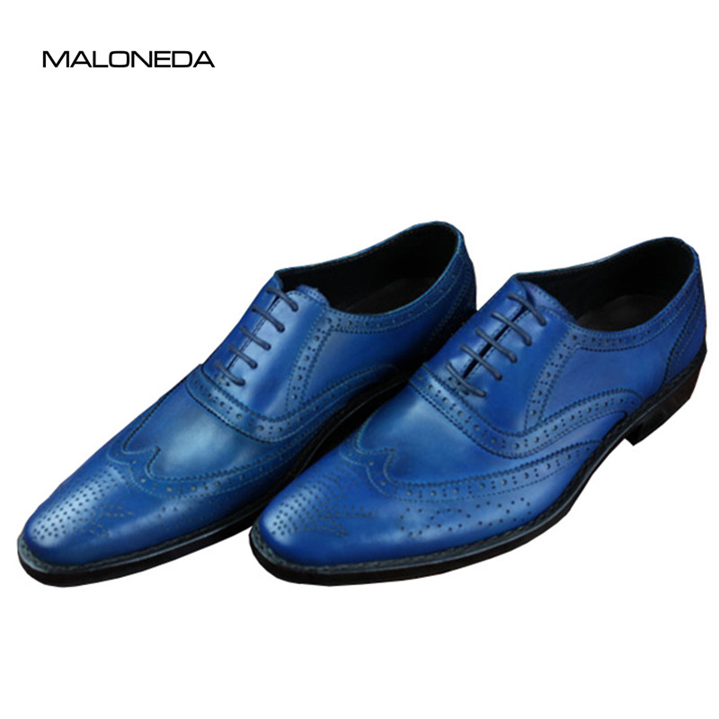 MALONEDA Custom made Genuine Leather Blue Color Dress Shoes Handmade Goodyear Welted Lace-up Mens Oxford Brogue Shoe 2017 size 32 43 fashion black lace up high heels women boots ankle ladies shoes woman spring autumn chaussure femme 33 34 white