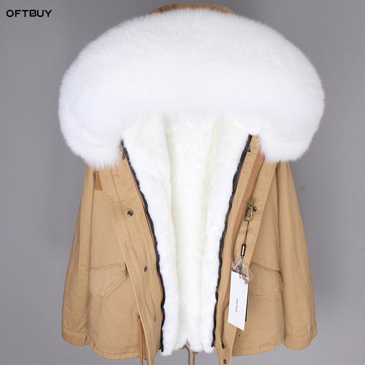 OFTBUY 2019 Winter Jacket Women Big Real Fur Coat Parka Red Fox Fur Collar Faux Fur Liner Camouflage Pink Short Coat Fashion New