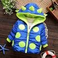 Warm Winter Baby Boys Girls Parkas Lovely Dot Pattern Outerwear Hoodies Plus Velvet Thicken Coat Outerwear Parkas