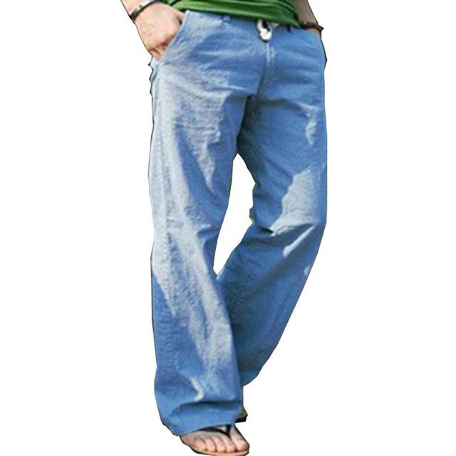Pantalones para hombre pantalones los nuevos hombres de pantalones de lino ocasionales moda transpirable de algodón de lino sueltas verano hombre de los pantalones más el tamaño K16