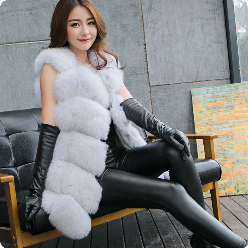 2017 Chaleco de Piel Sintética de Otoño Invierno Mujer Mujer Peludo Caliente Chaleco Outwear Colete Feminino Femme Veste Chaleco Mujer
