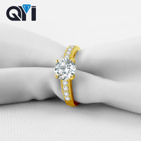 QYI 14K Solid Yellow Gold Solitaire Engagement Rings For Women Round cut 1.25 ct Sona Simulated Diamond Wedding Band Rings