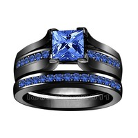 Victoria Wieck Real Princess Cut 6mm Sapphire Simulated Diamond 10KT Black Gold Filled Engagement Wedding Ring