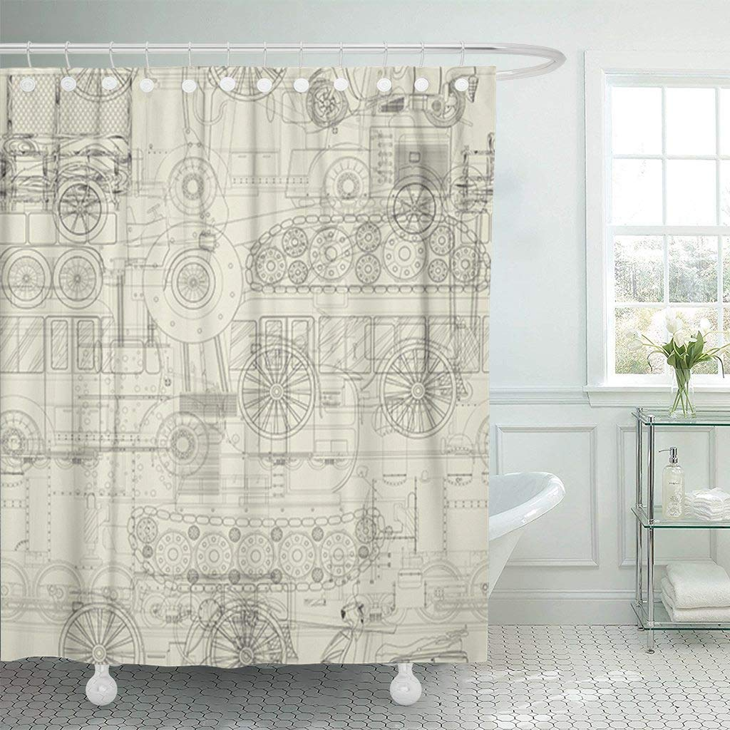 Us 17 06 36 Off Shower Curtain With Hooks Car Vehicles Pattern Steampunk Drawing Bike Technical Ink Machine Motor Pen Decorative Bathroom In Shower