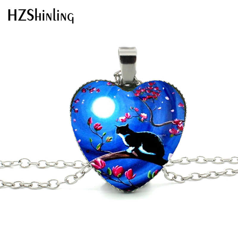 New Cats Silhouette Heart Necklace Black Cat and Moon Pendant Heart Shaped Jewelry Glass Heart Necklace HZ3