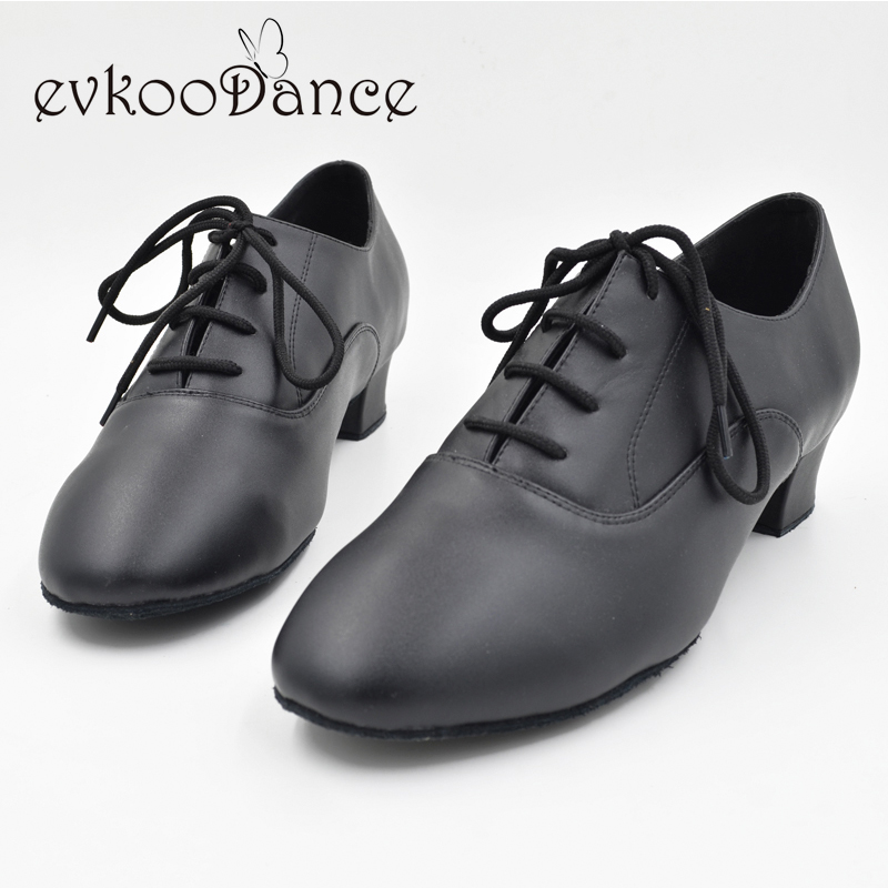 Size US 4.5-13.5 Heel Height 4cm boys Zapatos De Baile Comfortable Black Genuine Leather Latin Salsa Dancing Shoes For Men ML001