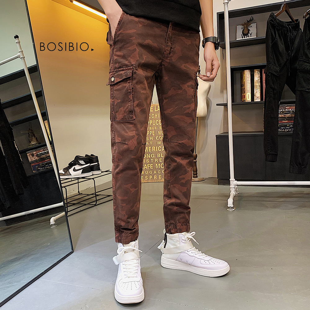 BOSIBIO 2019 Brand Mens Military Cargo Pants Multi-pockets Camouflage Male Trousers Fashion Ankle Length Pants G3535