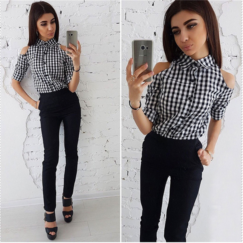 4bc4027779348 Detail Feedback Questions about Shirts Womens Black White Plaid Button Slim Cold  Shoulder Half Sleeve Turn Down Collar Blouse Ladies Casual Tops Shirts 2018  ...