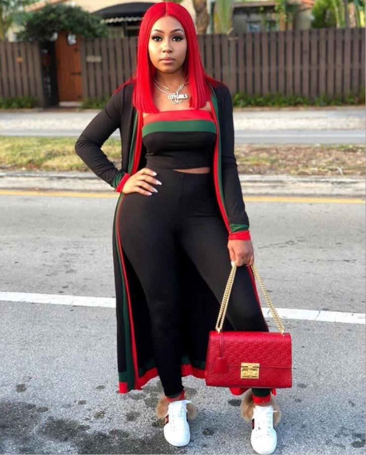 Spring 2018 New African Fashion Hot Sale In Europe And The Stitching Wrapped Chest Tight Stripe Sexy Three-piece Set S628