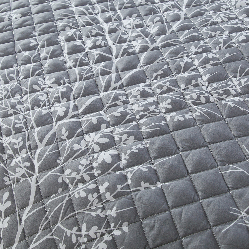 3D Printed White Branch Bedspread Gray Comforter 3 Pieces Skirt Design Summer Thin Quilt with 2 Pillowcase Air Conditioner Quilt - 4