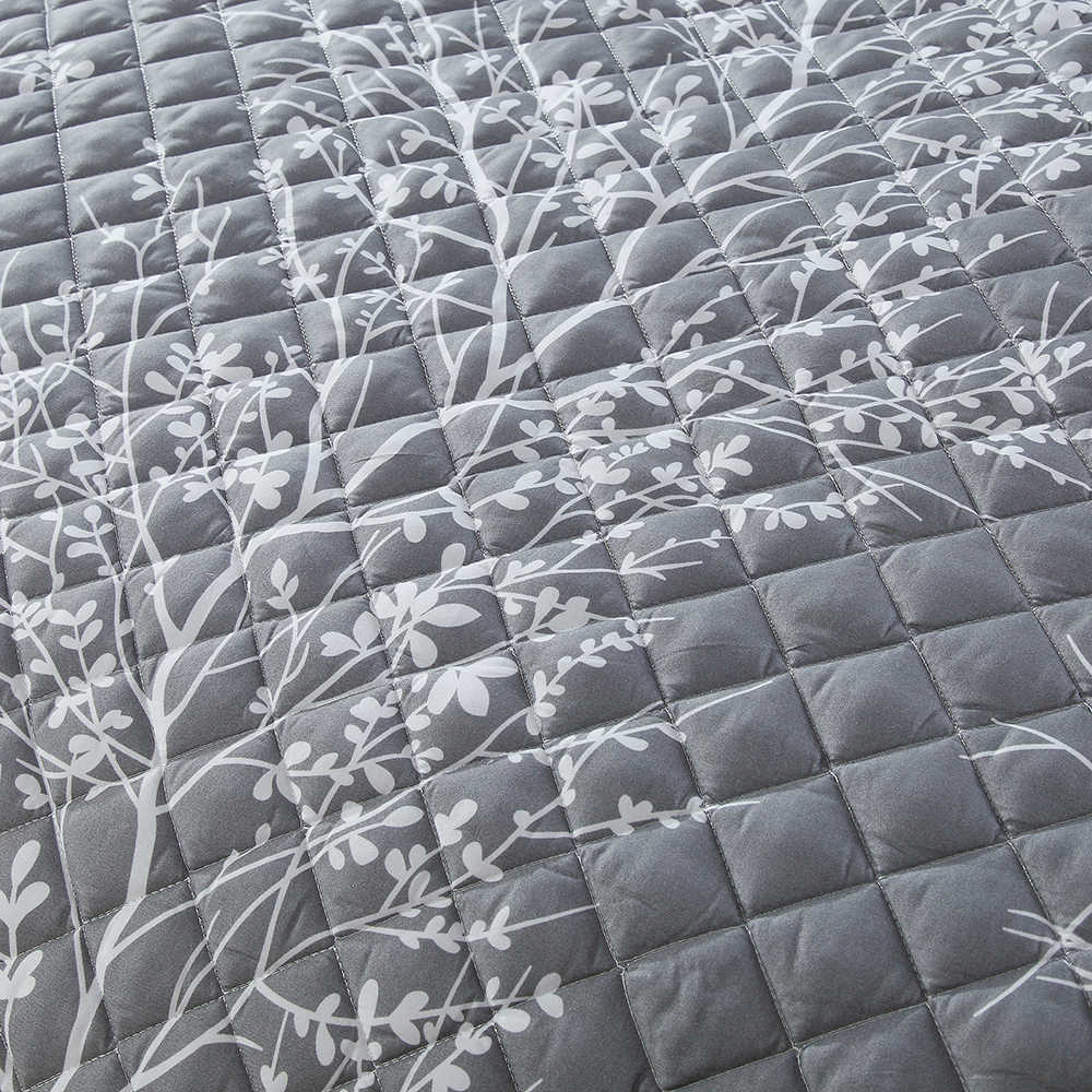 3D Printed White Branch Bedspread Gray Comforter 3 Pieces Skirt Design Summer Thin Quilt with 2 Pillowcase Air Conditioner Quilt