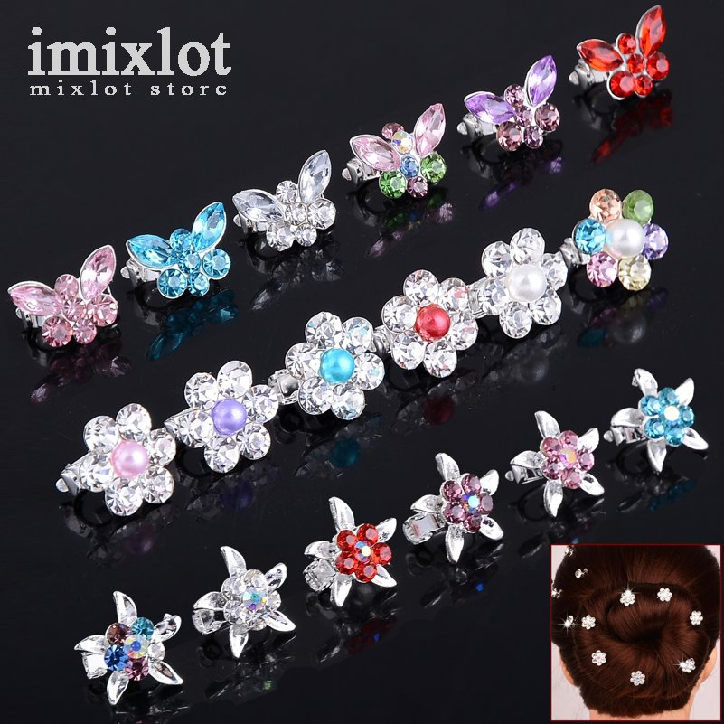 10Pcs Imitation Pearls Crystal Bridal Hairpins Children Headdress Butterfly Flower Hair Buckle Hairpin Wedding Hair Accessories