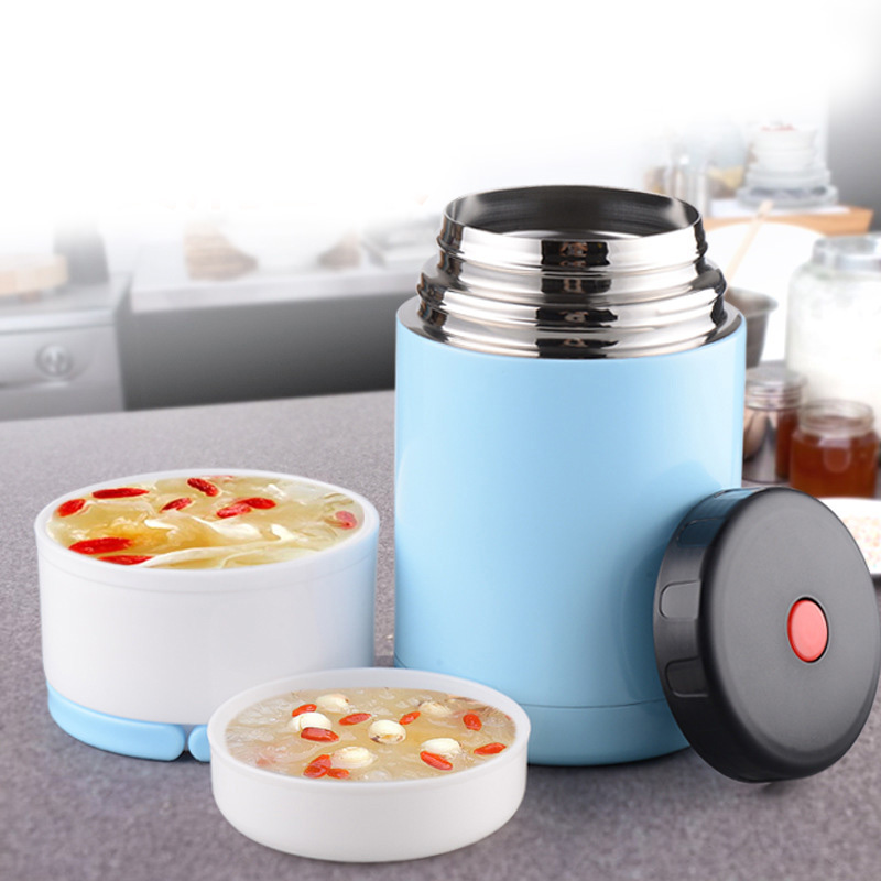 Hot Stainless Steel Inner + Plastic Outer Layer Heat Insulation Dinnerware Set Capacity Food Container Barrels Vacuum Stew Pot