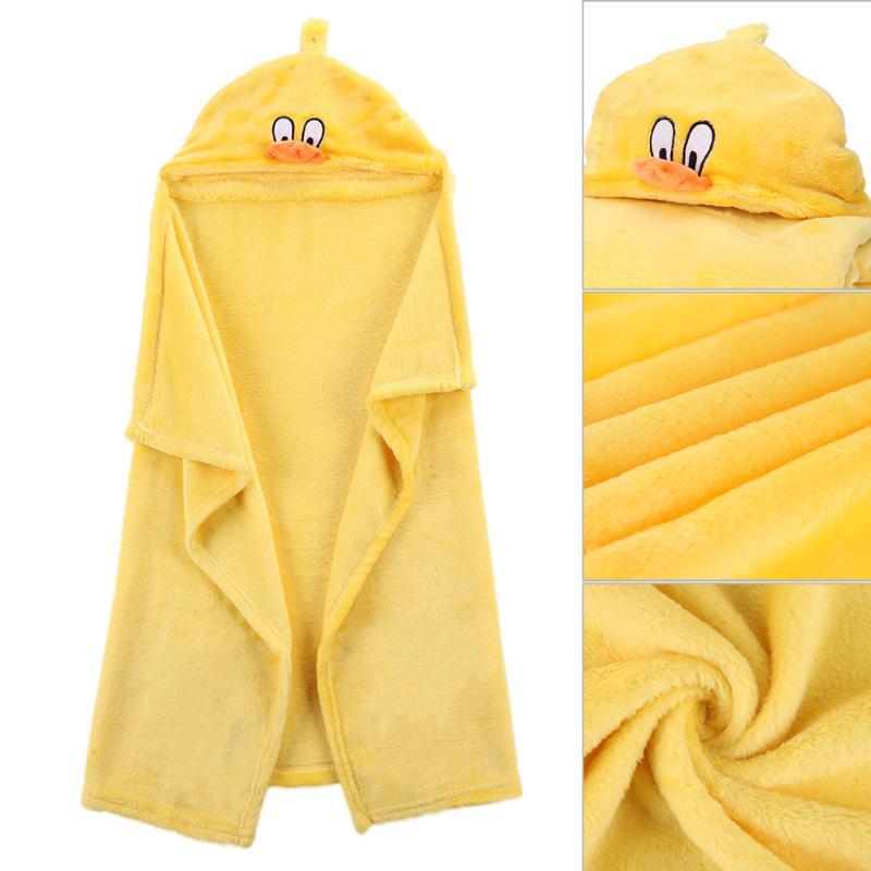 Lovely Soft Coral Fleece Baby Bath Towel Hooded Children Bathrobe Cloak Cartoon Animals Baby Receiving Blanket Newborn Swaddling