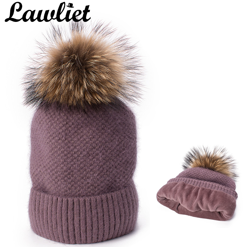 fdffe48db66 Lawliet Turn Up Womens Winter Hats Rabbit Hair Angora Knitted Slouchy Baggy  Beanie Bonnet Cap Fur Pom Pom Fleece Inside Hat