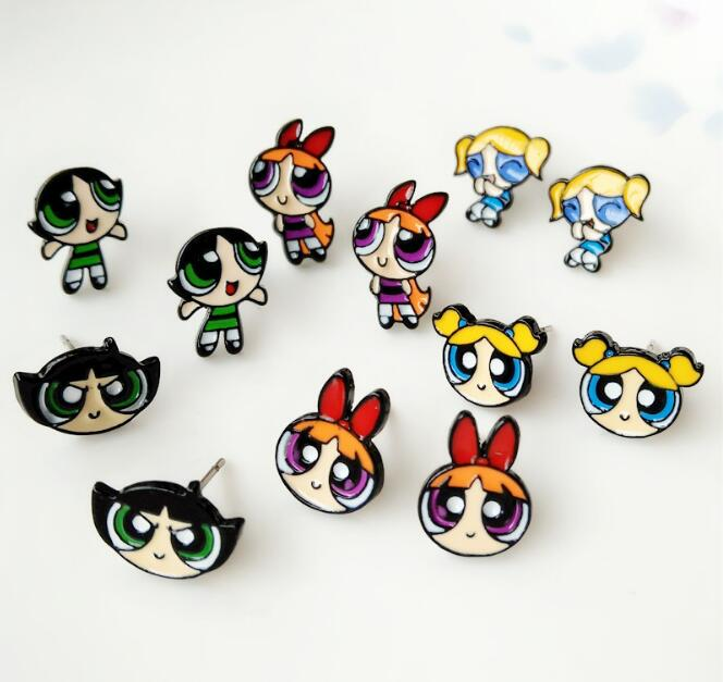 The Powerpuff Girls lovely movie Personality Asymmetric Small Earrings unisex ear stud Ear Ring earring anime