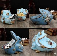 Frog fish toucan elephant pig crafts model, home desktop decorations, retro animal furnishings, can be used as candy tray, key s