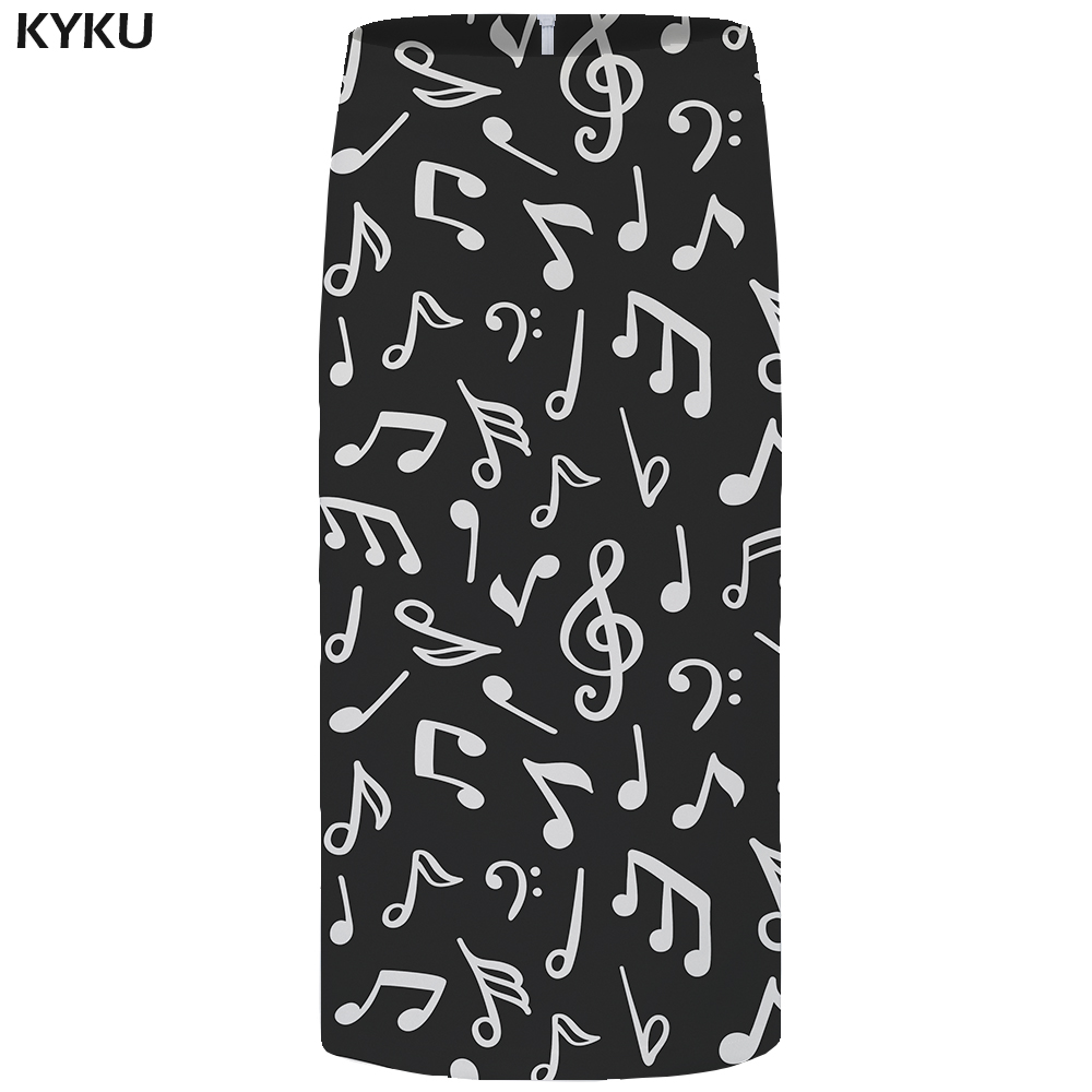 Kyku Music Skirts Women Black Casual Gothic Party 3d Print Pencil Plus Size Ladies Skirts Womens Knitted Sundresses New