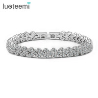 New Fashion Bride Jewelry Design From Rome 3Rows AAA Cubic Zirconia Stones Paved Bracelet