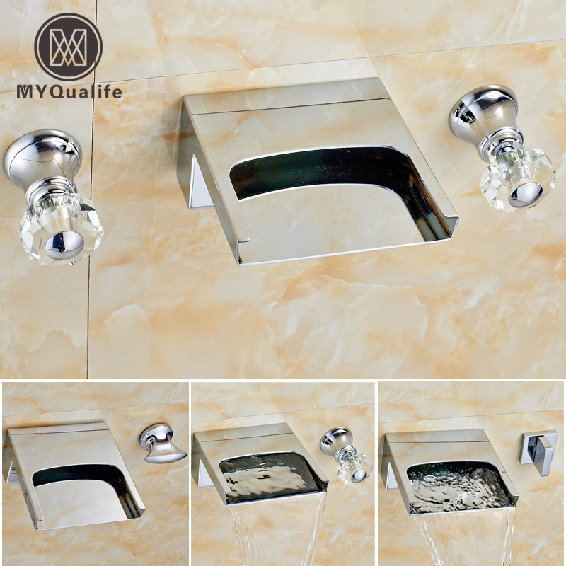 Bright Chrome Waterfall Basin Sink Mixer Faucet Dual Handle Wall Mount Washing Basin Taps with Dual Handles