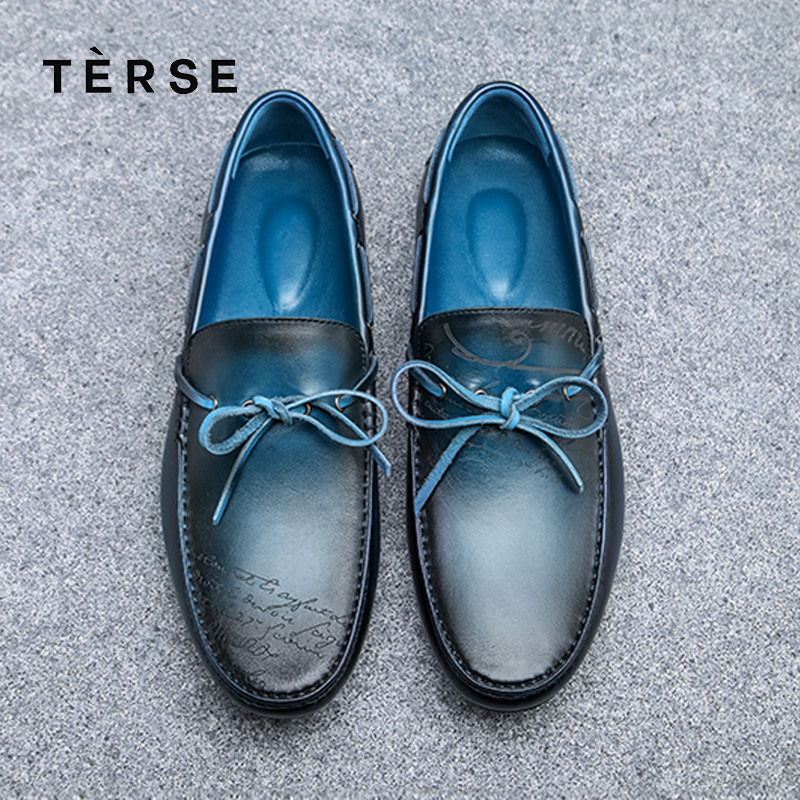 TERSE Fashion Shoes Men 100% Handmade Genuine Leather High Quality Calf Hide Male Footwear Custom Logo Luxury Loafer Shoes terse new men s shoes handmade genuine leather dress casual shoes with tassel fashion luxury shoes high quality 2 color 15770 20