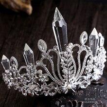 Venta caliente de la aleación de cristal corona tiara nupcial de la boda accesorios para el cabello grandes quinceanara
