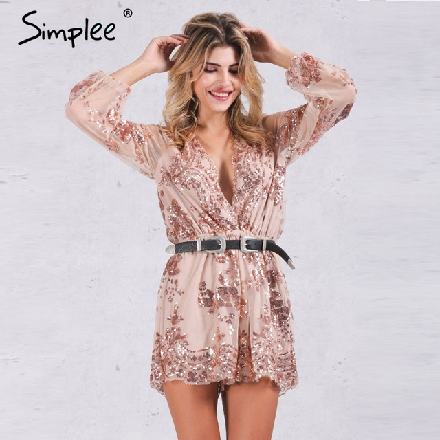 Simplee 2017 Autumn Gold sequin embroidery elegant jumpsuit romper Transparent mesh sleeve playsuit women Deep v neck overalls
