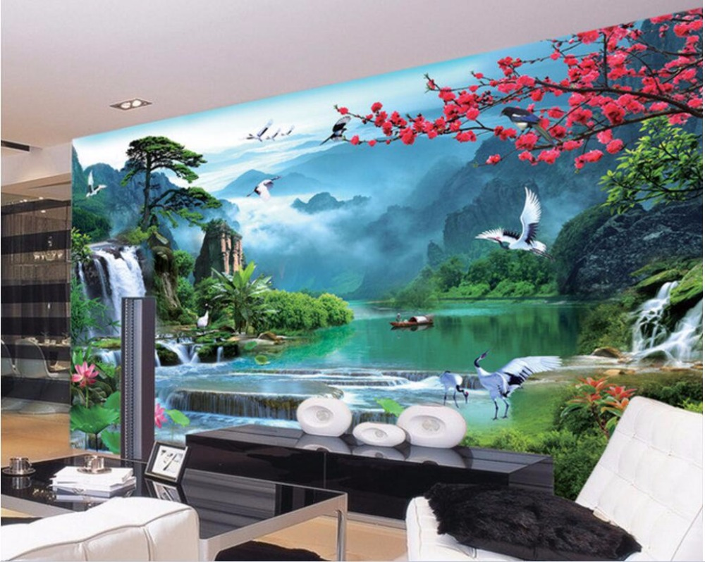 Custom 3d Mural Wallpapers Hd Landscape Mountains Lake: 3d Wall Murals Wallpaper For Walls 3 D Photo Wallpaper