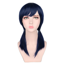 Short Wig Navy-Blue Two-Ponytails costume Synthetic-Hair-Wigs Cosplay QQXCAIW Party High-Temperature