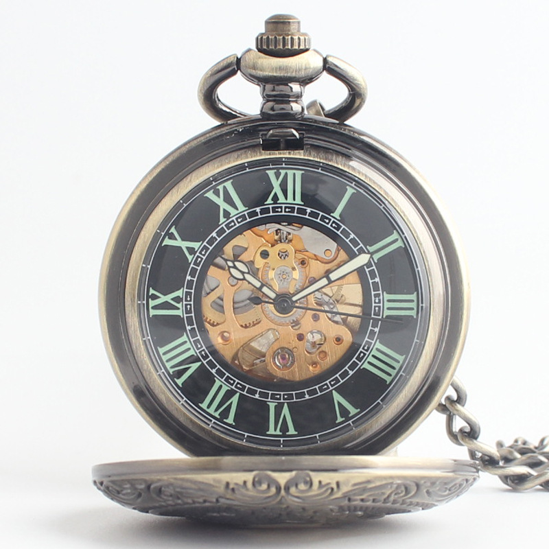 Retro classic clamshell men automatic mechanical pocket watch old pocket watch