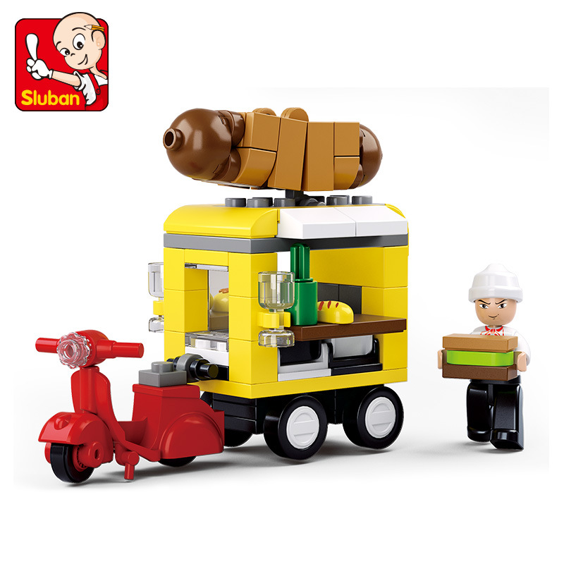 SLUBAN City Hot dog fast food car Building Blocks Sets Doll House Bricks Model Kids Children girl gifts Toys Compatible Legoe lepin 02012 city deepwater exploration vessel 60095 building blocks policeman toys children compatible with lego gift kid sets