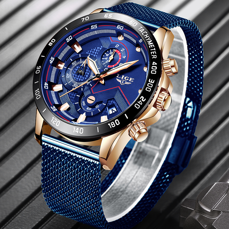 LIGE New Mens Watches Top Luxury Brand Quartz Watch Men Casual Sport Watch Date Waterproof Stainless Steel Clock Reloj Hombre