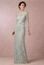 Hot New Arrival 2015 Sheath Long Lace Mother of the Bride Dresses With Sleeves Sash Brides For Weddings