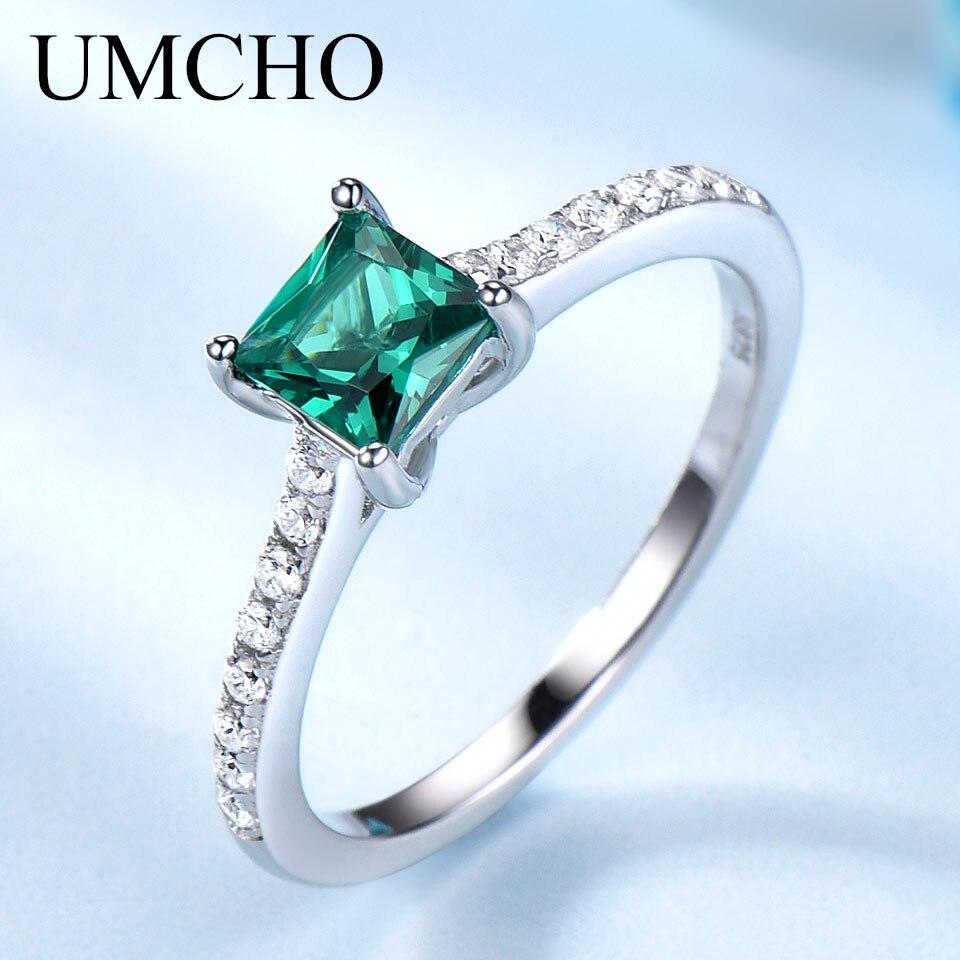 UMCHO Grün Smaragd Edelstein Ringe für Frauen Echtes 925 Sterling Silber Mode Können Birthstone Ring Romantische Geschenk Edlen Schmuck