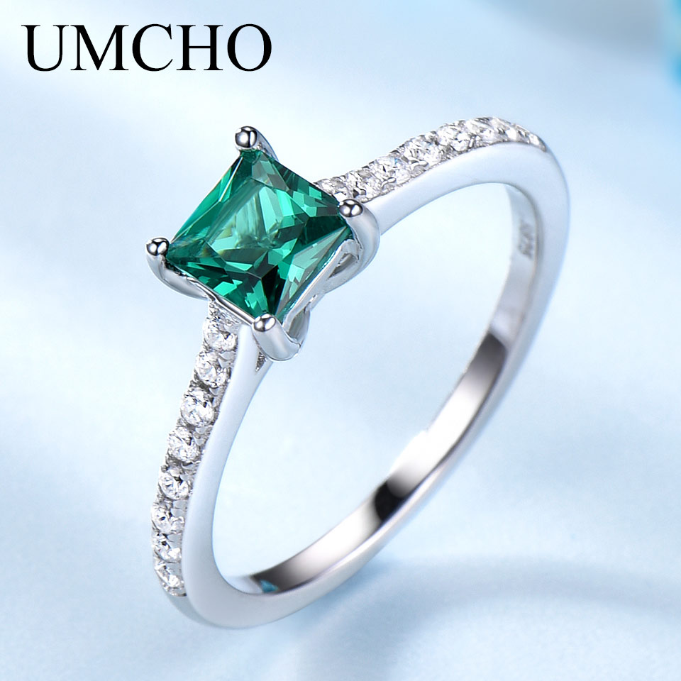 UMCHO Green Nano Emerald Ring Ægte Solid 925 Sterling Sølv Fashion - Smykker
