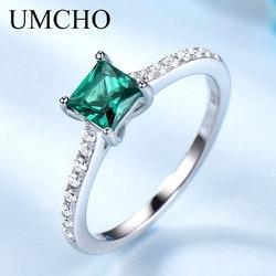 UMCHO Verde Esmeralda Gemstone Anéis para As Mulheres Genuine 925 Sterling Silver Moda Maio Birthstone Anel Romântico Presente Fine Jewelry