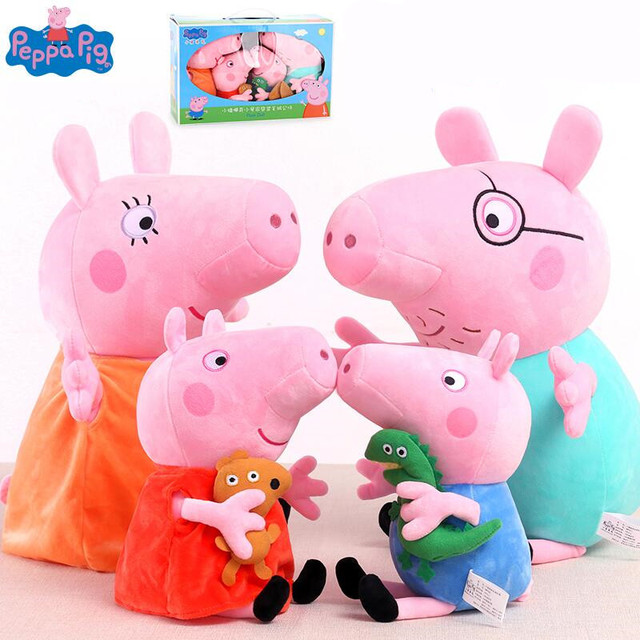 4pcs/set Peppa Pig family Plush Toys Package Brinquedos Pig Family Wholesale Stuffed Animals Plush Toys doll gift