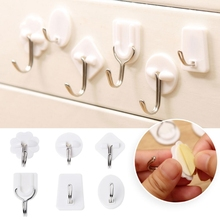 Free delivery 10 Pcs Set Kitchen Bathroom Plastic Adhesive Hook Wall Sticky Mount Hanger Rack(China)
