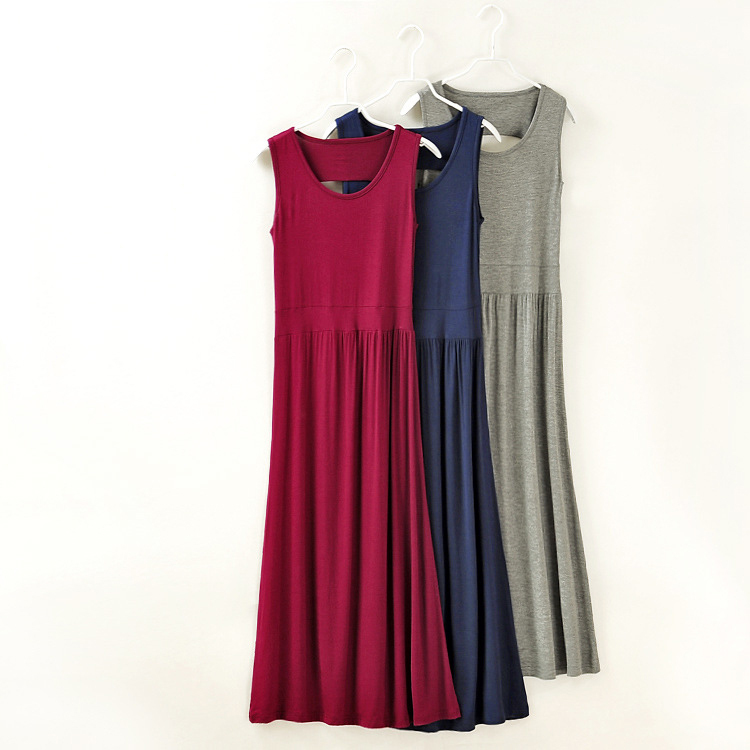 e35f29a8a9 US $10.65 14% OFF|Fashion desgin hollow out back tank dress women long  dresses pure color modal fabric summer clothing low price & high quality-in  ...