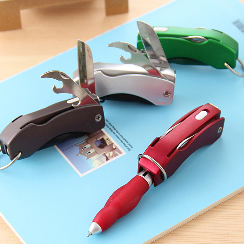 Wholesale Creative Multifunction Folding Ballpoint Pen With Knife Bottle Opener Keychain Lamp LED Light 7 in 1 tech multitool pen with ruler bottle opener phone stand ballpoint pen stylus pen and flat and phillips screwdriver bit