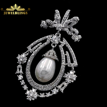 Art Nouveau Antique Imitated Pearl Drop Brooch Silver Tone Opens Micro Pave CZ Ribbon Bow Floral Pear Shaped Pin Wedding Jewelry