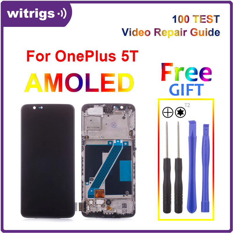 Witrigs for Oneplus 5T LCD Display Touch Screen Digitizer Assembly Replacement Free Tools