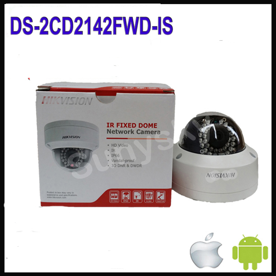 Original Hikvision 4MP IP Camera Outdoor DS-2CD2142FWD-IS dome camera IR Audio Alarm POE cctv IP network cameras H265
