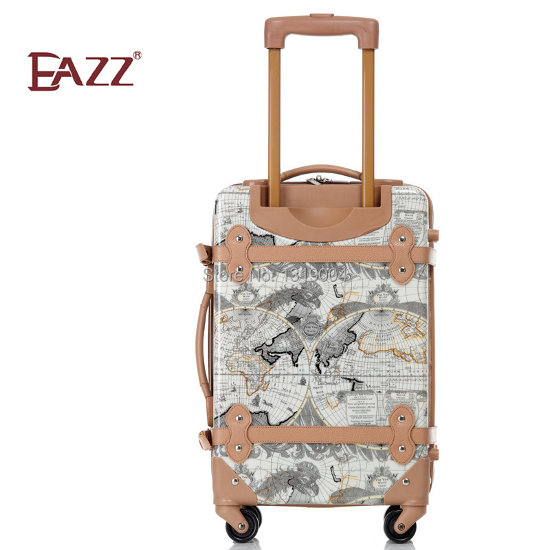 18inches vintage world map travel luggage bags on wheelkorea 18inches vintage world map travel luggage bags on wheelkorea fashion style female travel luggage with rodsuper light luggage in carry ons from luggage gumiabroncs Image collections
