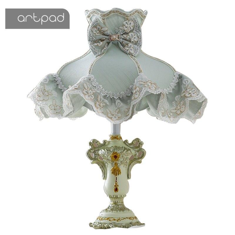 Artpad Style coréen Table de chevet lampes de Table pour chambre fleur dentelle tissu ombre princesse fille enfants LED lampe de bureau maison luminaire
