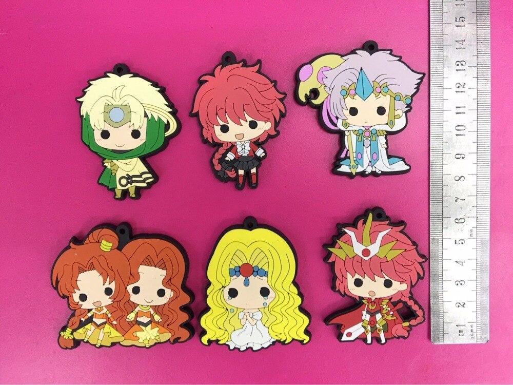 6 pcs/lot Anime Magic Knight Rayearth CLAMP Figure Keychain phone strap pvc Pendants Toy gifts