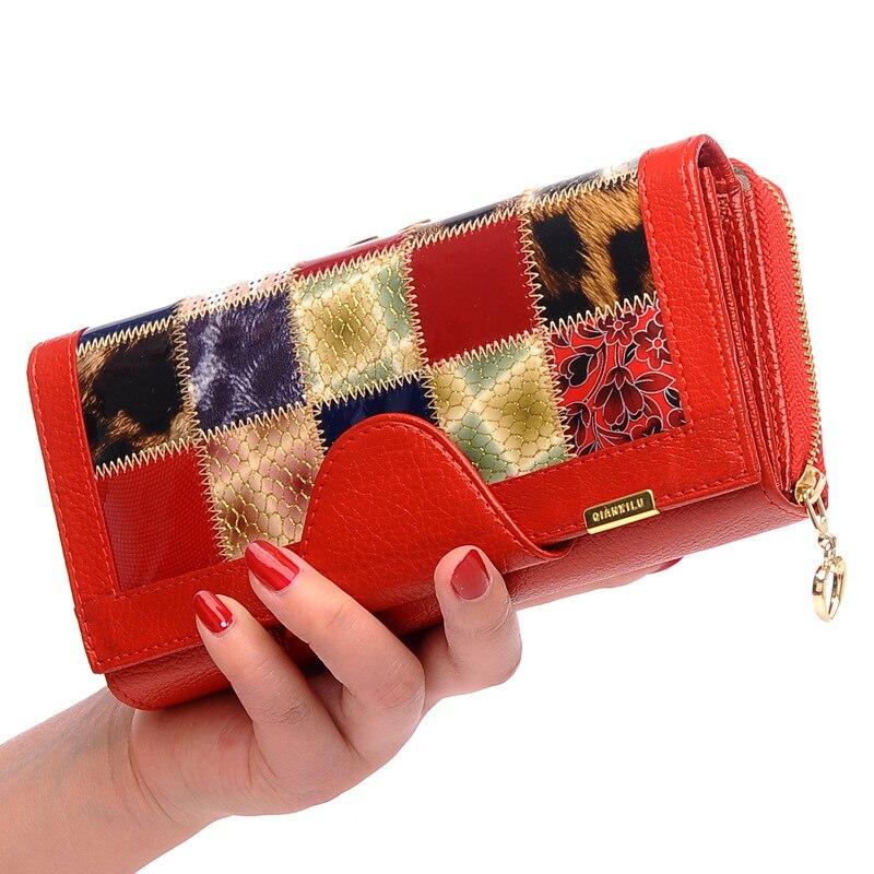 Impression portefeuille en cuir véritable femmes marque de luxe en cuir de vachette classique en cuir verni femmes portefeuilles et sacs à main porte-carte de crédit