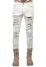 Nueva llegada del otoño del resorte destruir desgaste Casual Denim blanco  Ripped Hold alta street skinny jeans hombres hip hop d. 590d5b6bd52