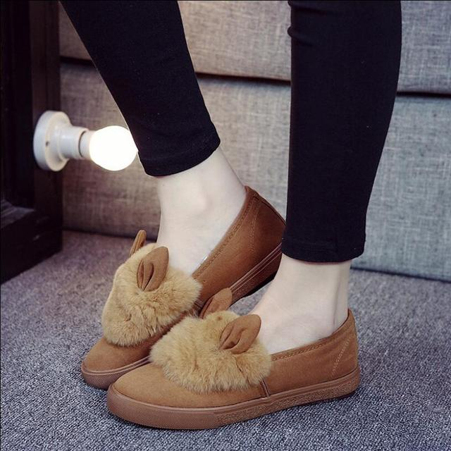 {D&H}Brand  Women Casual Shoes Lovely Ears Winter Fur Shoes Flower Warm Snow Shoes Fur Inside Cotton Shoes HALLOWEEN Dress UP