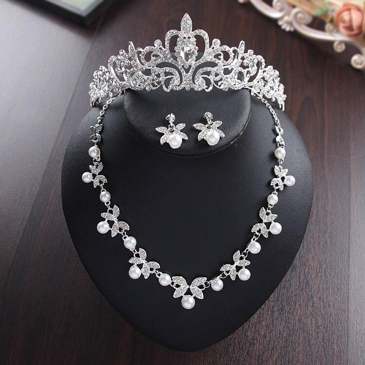 SHOSIXUAN Nevěsta Deníky nový design Crystal Pearl Bride 3ks Set náhrdelník náušnice Tiara Svatební Svatební šperky Sada příslušenství